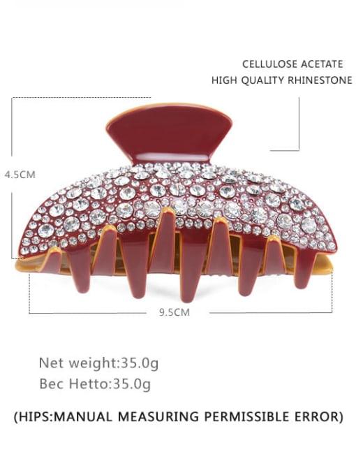 Orange pink diamond Cellulose Acetate Minimalist Geometric Rhinestone Multi Color Jaw Hair Claw