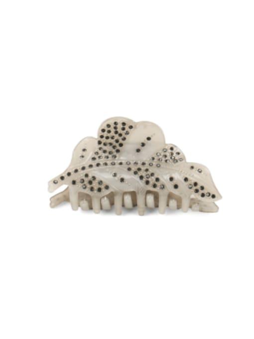 grey Acrylic Minimalist Leaf Alloy Rhinestone Jaw Hair Claw