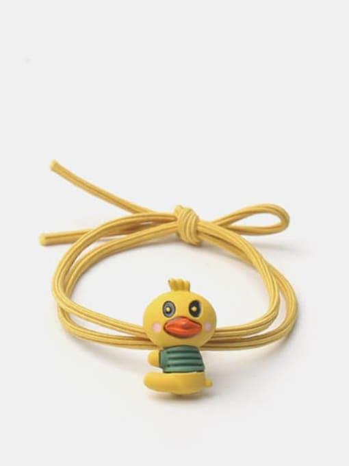 Yellow side sitting duck Alloy  Enamel Cute Rabbit Multi Color Hair Rope