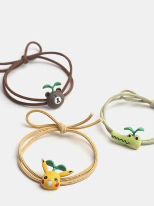 JoChic Alloy Enamel Cute Long grass Cartoon Bear Multi Color Hair Rope