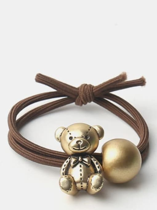 JoChic Cute Golden Bear Golden Rabbit Hair Rope 0