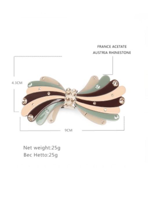 BUENA Cellulose Acetate Minimalist Bowknot Rhinestone Hair Barrette 2