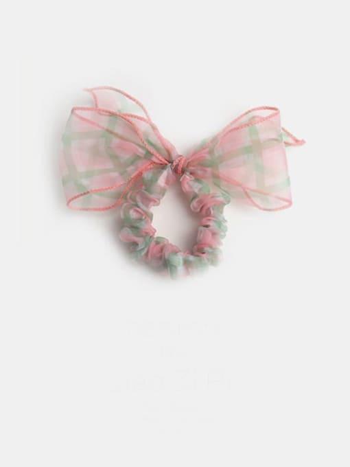 Pink Plaid Bow Yarn Minimalist Bowknot Hair Barrette