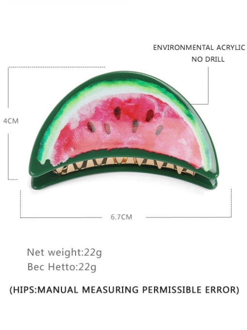 watermelon Cellulose Acetate Minimalist Friut Multi Color Jaw Hair Claw