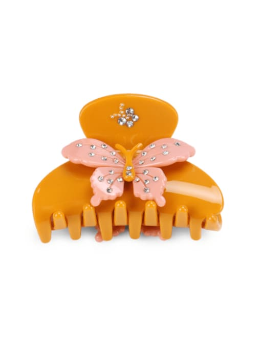 A Orange  butterfly Cellulose Acetate Minimalist Butterfly Rhinestone Multi Color Jaw Hair Claw