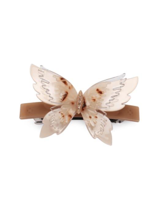 Shallow hawksbill Cellulose Acetate Minimalist Butterfly Alloy Rhinestone Hair Barrette