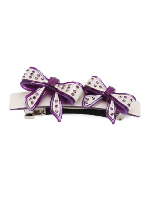 purple Cellulose Acetate Minimalist Bowknot  Rhinestone Hair Barrette