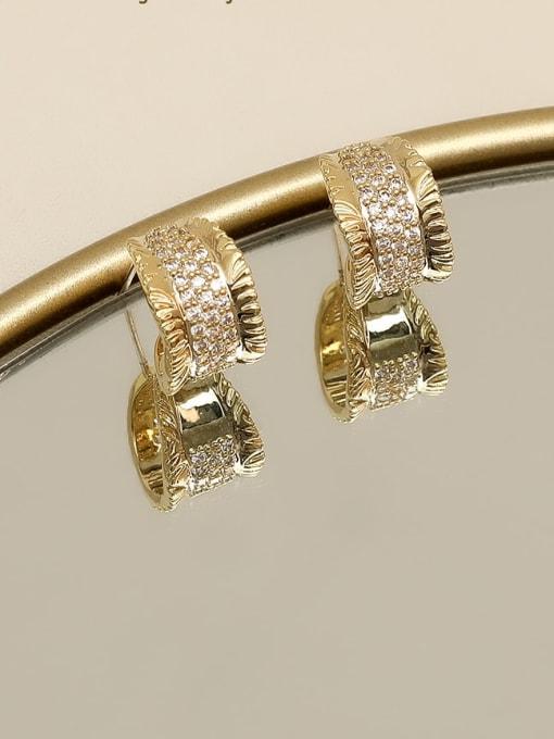 HYACINTH Copper Alloy Rhinestone Gold Geometric Vintage Stud Earring 1