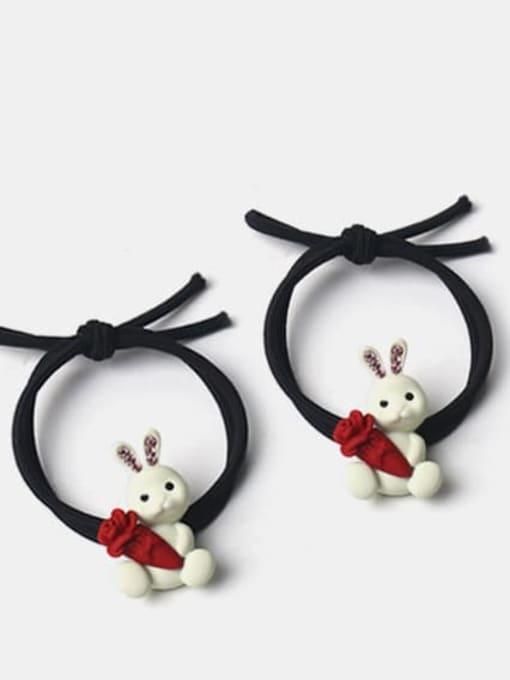 JoChic Alloy Cute Rabbit  Rhinestone White Hair Rope