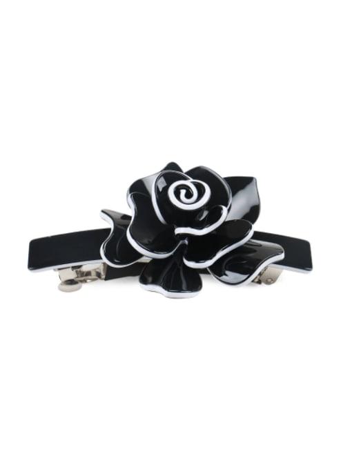 black Alloy Acrylic Minimalist Flower  Rhinestone Hair Barrette