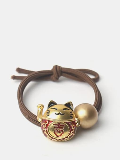 JoChic Alloy Cute Bright Gold Fortune Cat Scrub Beads Hair Rope 2