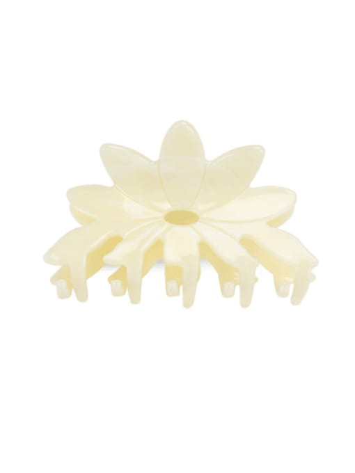 Solid yellow Cellulose Acetate Minimalist Flower Multi Color Jaw Hair Claw