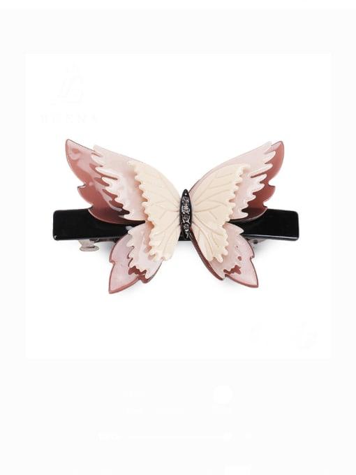 BUENA Cellulose Acetate Minimalist Butterfly Alloy Rhinestone Hair Barrette
