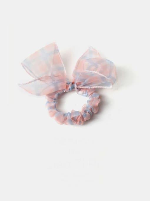 Blue Pink Plaid Bow Yarn Minimalist Bowknot Hair Barrette