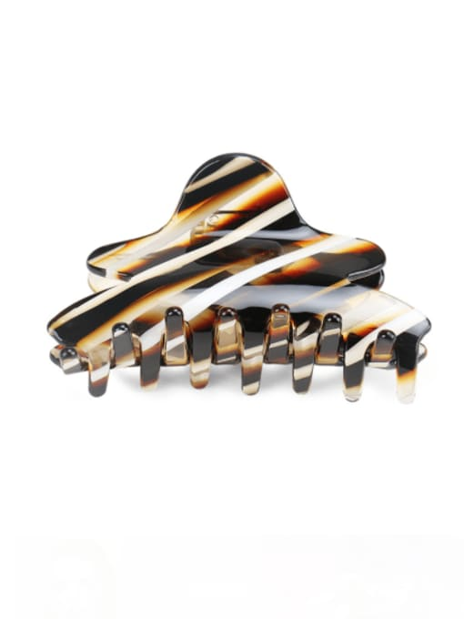 Striped Brown Cellulose Acetate Minimalist Geometric Multi Color Jaw Hair Claw