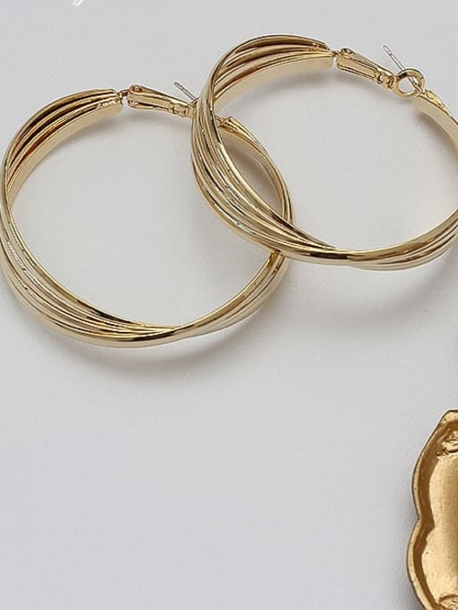 HYACINTH Copper Alloy Gold Geometric Statement Hoop Earring 1