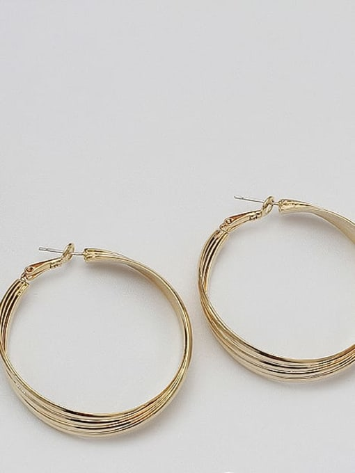 14K real gold Copper Alloy Gold Geometric Statement Hoop Earring