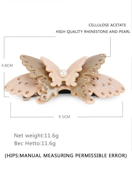 grey Cellulose Acetate Minimalist Butterfly Alloy Imitation Pearl Multi Color Hair Barrette