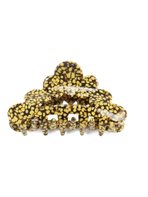 Spotted yellow Cellulose Acetate Vintage Geometric Jaw Hair Claw