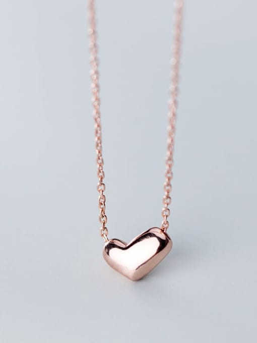 Rosh 925 Sterling Silver Gold Heart Minimalist Necklace 4