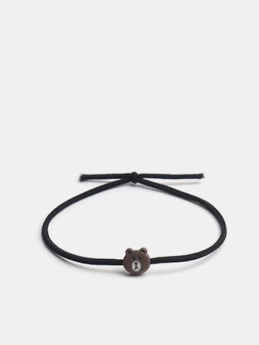 Mini Bear Brown Alloy Cute Bear  Multi Color Hair Rope