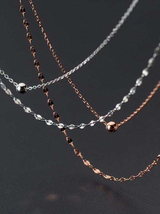 Rosh 925 Sterling Silver Silver Minimalist Multi Strand Necklace 2