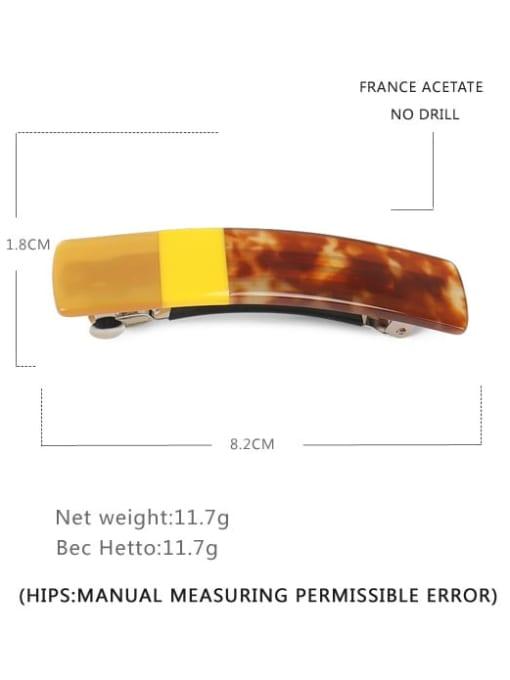 yellow Alloy Cellulose Acetate Vintage Geometric  Hair Barrette