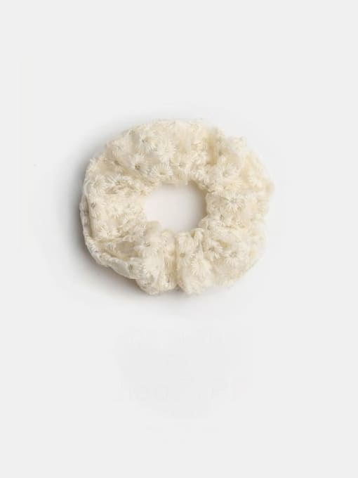 Beige embroidered large intestine circle Fabric Minimalist Hair Barrette