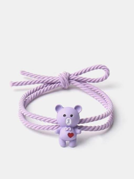 Love bear purple Alloy Cute Heart  Multi Color Hair Rope