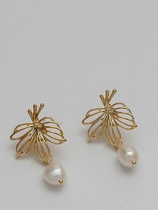 14K real gold Copper Alloy Freshwater Pearl Gold Geometric Minimalist Earring