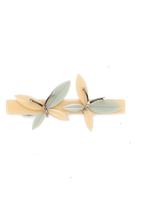 Beige Cellulose Acetate Minimalist Butterfly Alloy Hair Barrette