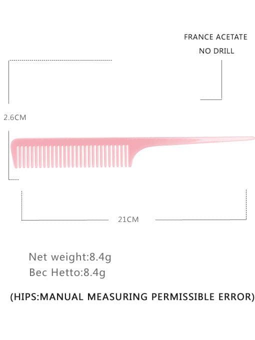 Pink Cellulose Acetate Minimalist Multi Color Hair Comb