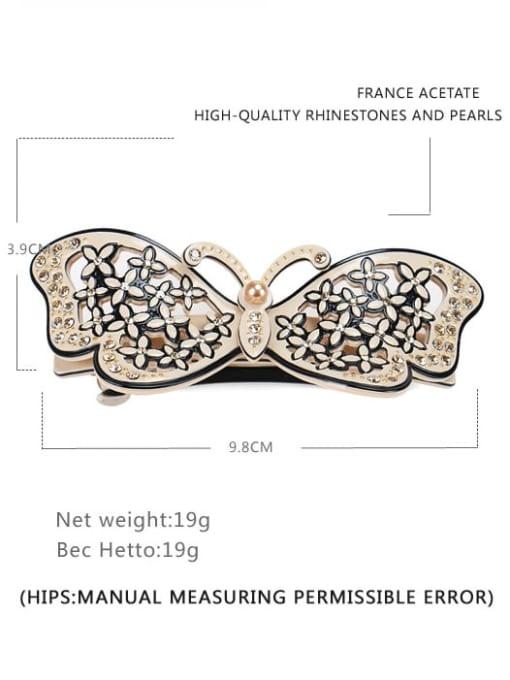 Wide spring clip Cellulose Acetate Minimalist Butterfly  Rhinestone Hair Barrette