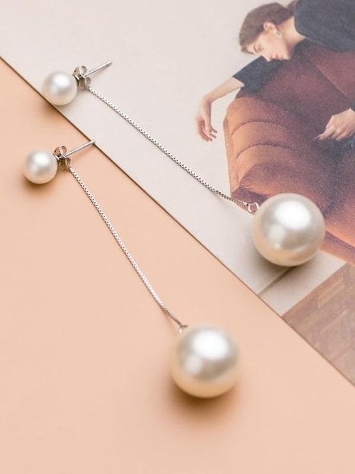 Rosh 925 Sterling Silver Imitation Pearl Silver Trend Drop Earring 1