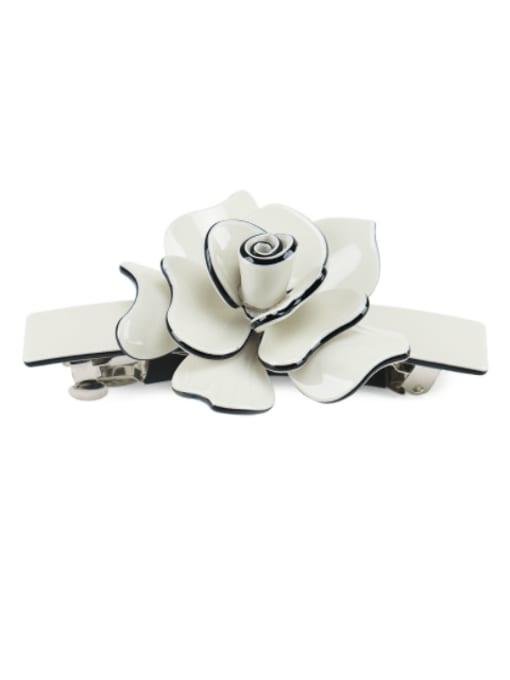Off white Alloy Acrylic Minimalist Flower  Rhinestone Hair Barrette