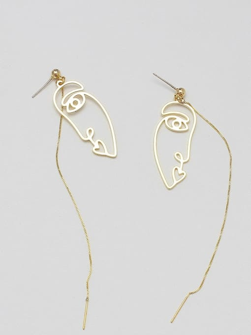 14K real gold Copper Alloy Gold Geometric Minimalist Threader Earring