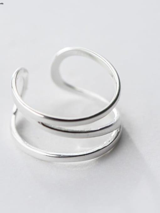 Rosh 925 Sterling Silver Silver Irregular Trend Stackable Ring