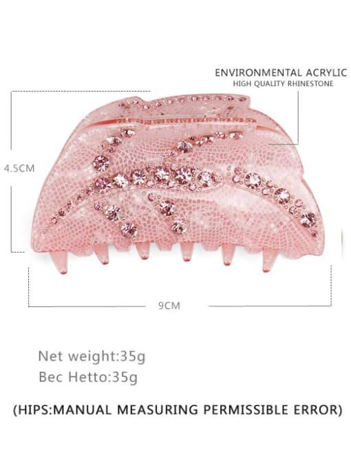 BUENA Alloy Rhinestone  Acrylic Minimalist Leaf Multi Color Jaw Hair Claw 1
