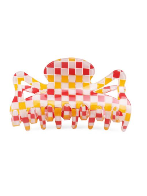 Plaid orange PVC Minimalist Geometric Multi Color Jaw Hair Claw