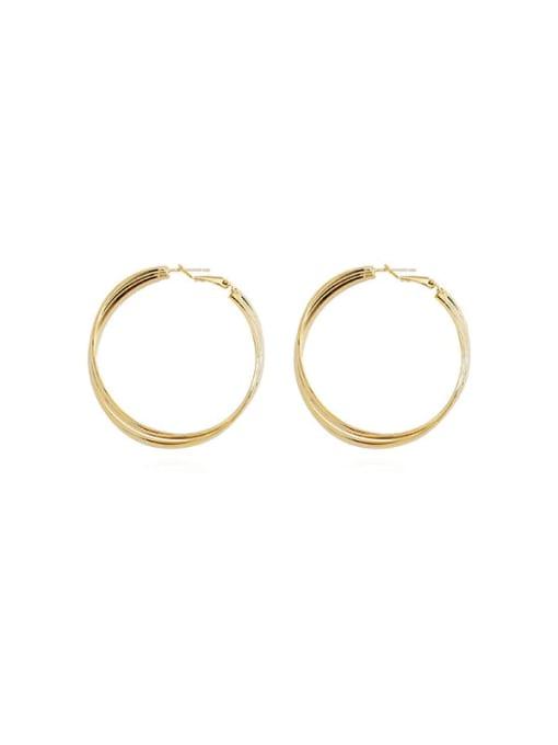 HYACINTH Copper Alloy Gold Geometric Statement Hoop Earring 2