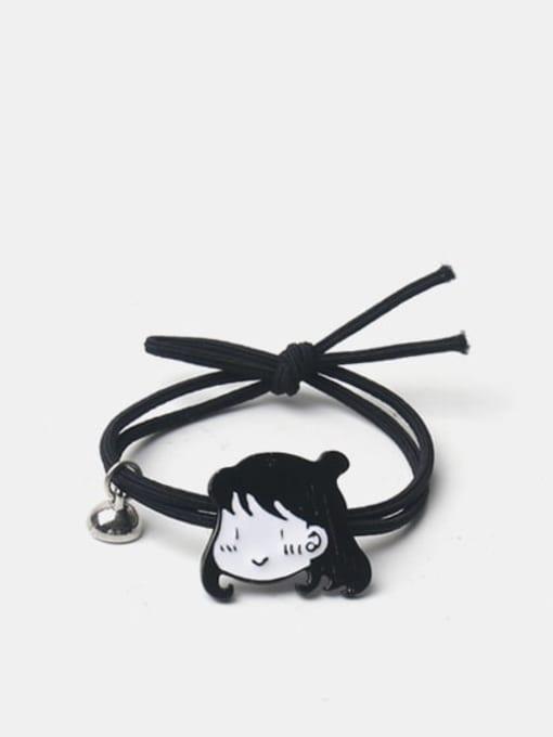 JoChic Alloy Enamel Cute Magnet Boy Magnet Girl  Black Hair Rope