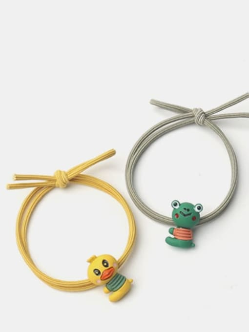 JoChic Alloy  Enamel Cute Rabbit Multi Color Hair Rope 1