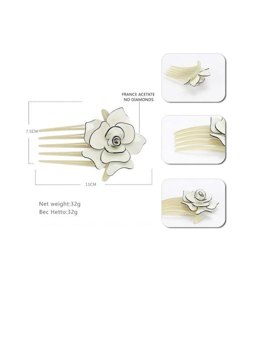 BUENA Alloy Acrylic Minimalist Flower Multi Color Hair Comb 2