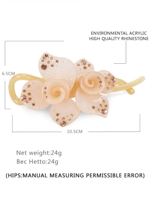 golden Acrylic Minimalist Flower Rhinestone Multi Color Hair Barrette