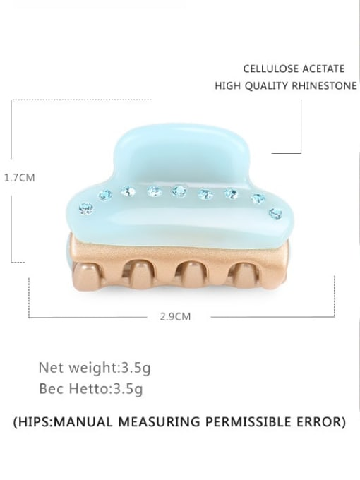 Mint Green Cellulose Acetate Minimalist Geometric Alloy Rhinestone Jaw Hair Claw