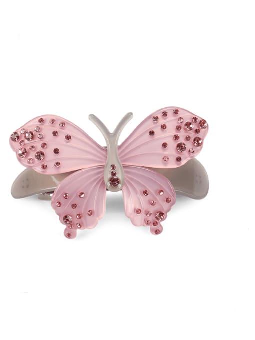 Pink Alloy Acrylic Minimalist Butterfly Rhinestone Hair Barrette