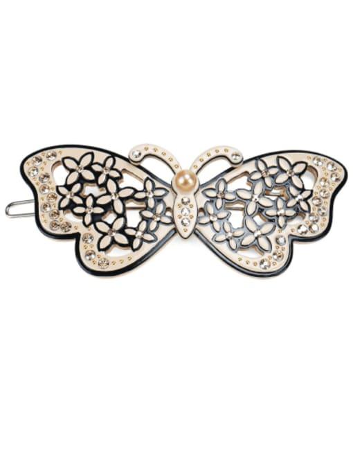 BUENA Cellulose Acetate Minimalist Butterfly  Rhinestone Hair Barrette 3