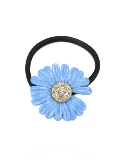 Blue 2 Cellulose Acetate Minimalist Flower Rhinestone Multi Color Hair Barrette