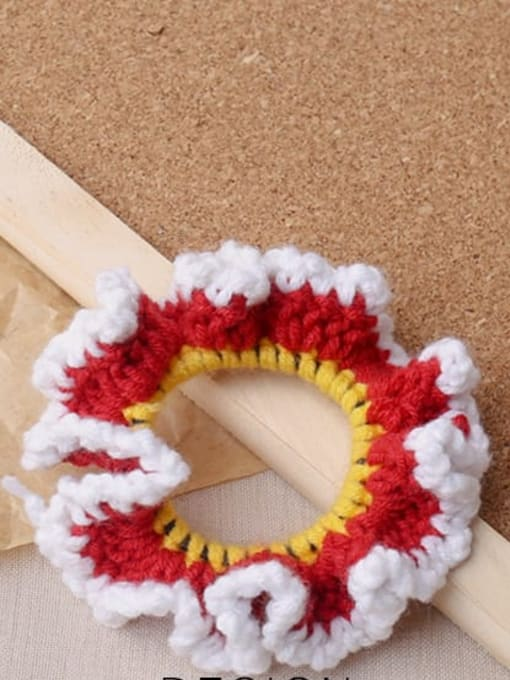 Red knitted large intestine ring Candy colored knitted large intestine hair loop head rope
