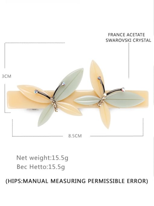 BUENA Cellulose Acetate Minimalist Butterfly Alloy Hair Barrette 1